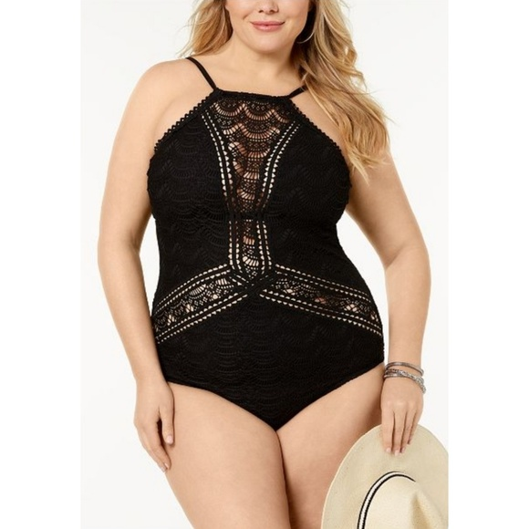 70098a33d95 Becca ETC Colorplay High-Neck Crocheted One-Piece